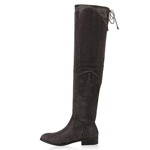 Stiefelparadies Damen Leicht Gefütterte Langschaftstiefel Overknees Velours Boots Flandell Dunkelgrau Schleife