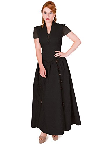 Steampunk Dawn Banned Rise Kurzarm Maxi Kleid Damen Gothic Schwarz Dress Schwarz Of EEgq87