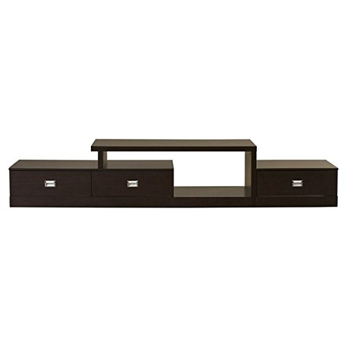 94.3'' TV Stand Transitional Style Dark Brown Faux Wood Grain Paper Veneer Silver Drawer Pulls Three Drawers and Many Shelving Spaces Engineered Wood Frame