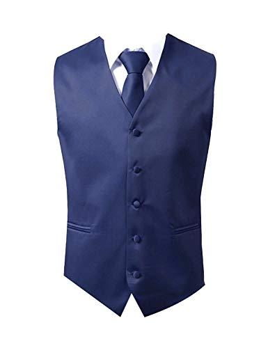 Brand Q 3pc Men's Dress Vest NeckTie Pocket Square Set for Suit or Tuxedo (S (Chest 41), Navy Blue)