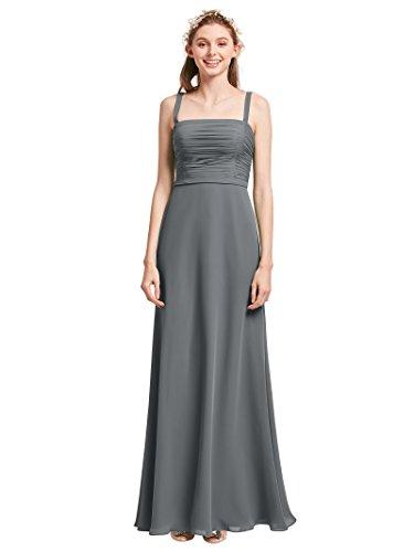 Alicepub Sleeveless Spaghetti Strap Bridesmaid Dresses for Women  Semi-Formal Maxi Dress Plus Size, Steel Grey, US28