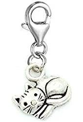 """Pro Jewelry Dangling """"Curled up Kitty"""" Clip-on Bead for Charm Bracelet"""