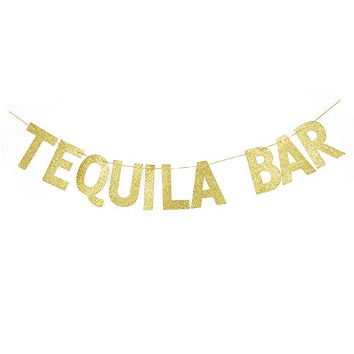 Tequila Bar Banner, Tequila/Drink Party Sign Gold Gliter Paper Photoprops