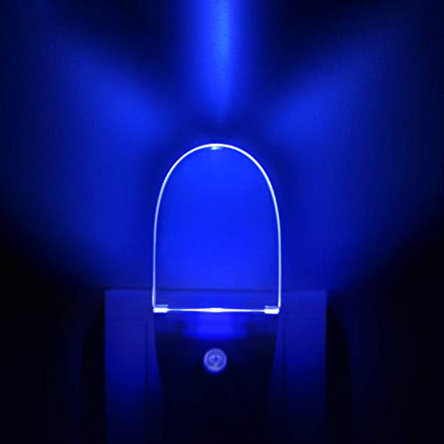 [ Nice Blue Glow ] Plug In LED Night Light with Dusk to Dawn Sensor, Auto ON/OFF, Pack of 2