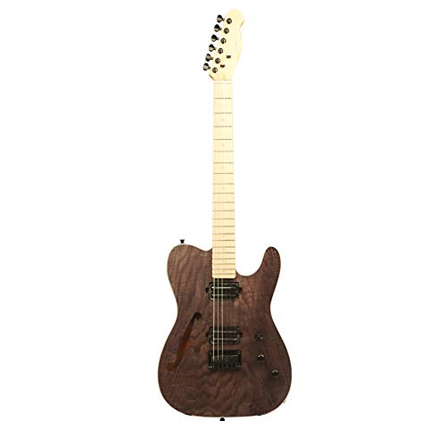 ZUWEI Electric Guitar Semi-Hollow Body Custom Series – ASH Maple Top Veneer, Alnico Dual-Ways Pickups, Canada Maple Light Dots Natural Brown