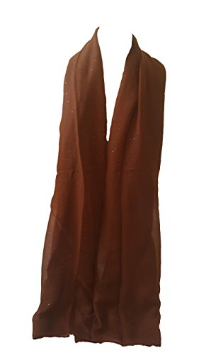 - New Ladies Womens Glitter Sparkle Stardust Scarf Scarves Maxi Wrap - Stardust Plain/Beaded/Embroidered/Lace (Rust Brown)