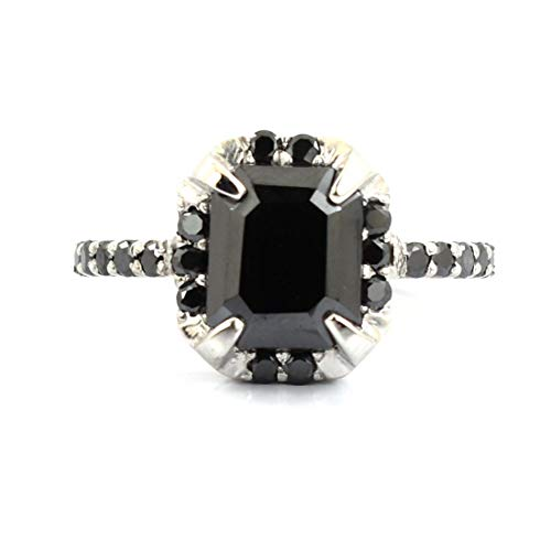- skyjewels 3 Carat Emerald Cut Black Diamond Solitaire Ring in White Gold Finish with Black Diamond Accents