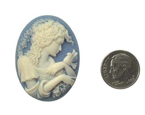 (Cabochon, Acrylic Cameo Victorian Lady with Bird Cabochon Ivory on Blue 30x40mm Non-calibrated - One Piece)
