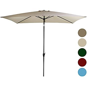 Tourke 10 X 6.5ft Rectangular Patio Umbrella Outdoor Garden Umbrella With  Crank And Tilt ,