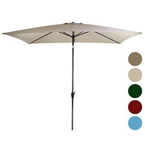 Tourke 10 x 6.5ft Rectangular Patio Umbrella Outdoor Garden Umbrella with Crank and Tilt , 6 Steel Ribs (Beige) (Pub Garden Parasols)