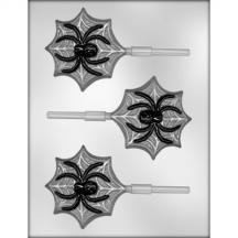 3 Pack- Spider on Web Sucker Hard Candy Mold (Party City Halloween Baking Supplies)