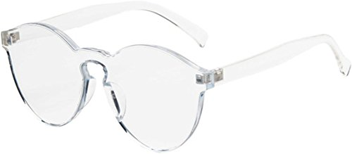 J&L Glasses Transparent Rimless Ultra-Bold Candy Color sunglasses (Transparent, - Piece Lens One Sunglasses