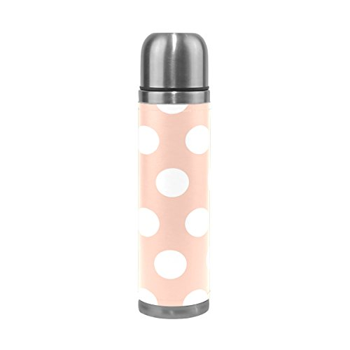 Sunlome White Polka Dots Coral Vacuum Flask Double Wall Stainless Steel Coffee Bottle Thermos Vacuum Insulated 16 Ounce
