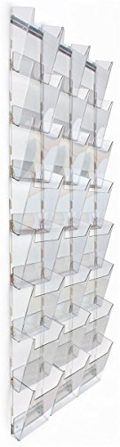 Views Magazine - Tiered Magazine Rack for Wall Mount Use, 24 Pockets, 3 Columns of 8, Full View - Clear Acrylic