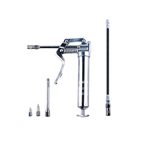 Wadoy Mini Grease Gun 3oz, Grease Gun with 12 Flexible Hose, 7Rigid and 4 1/2Connector, Galvanized Chrome Pistol Grip Grease Gun