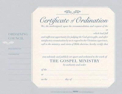 B&H Publishing Group Certificate-Ordination-Minister (5.5