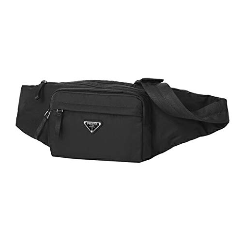 (Prada Unisex Marsupio Belt Waist Bag Black Nylon Tessuto Fanny Pack 2VL005)