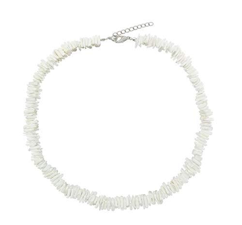 (LOHZAQ Natural Puka Shell Necklace Clam Chips Shells Handmade Hawaii Wakiki Beach Choker Necklace (White, 16))