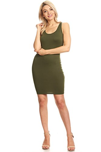 Casual Sexy Racer-Back Mini Bodycon Dress/Made in USA Olive M (Dress Bodycon Racer)