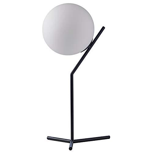 "Amazon Brand – Rivet Glass Ball and Metal Table Lamp – Matte Black, 21.5""H, with Bulb"