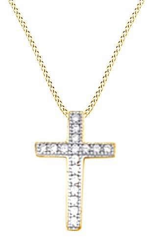 Gold Over Silver Cross (Cubic Zirconia Little Cross Pendant Necklace In 14K Yellow Gold Over Sterling Silver)