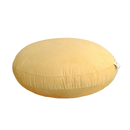 Hodeco Round Throw Pillow 16x16 Super Elastic Round Floor Pillows 3D Feather-Like Polyester Filling Cushion Decorative Suede Throw Pillow for Couch Bed Room 16 Inches Diameter, Ginger Yellow, 1 Piece (Round Couch Pillows)