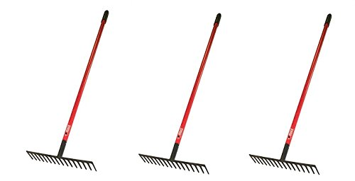 Bully Tools 92311 16-Inch Level Head Rake with Fiber Glass Handle and 14 Steel Head Tines, 60-Inch (3-Pack)