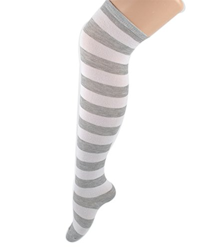 95eeb1f82617e Women Stripes Thigh Stocking Socks. Review - Women Stripes Thigh High Over  Knee Stocking Socks