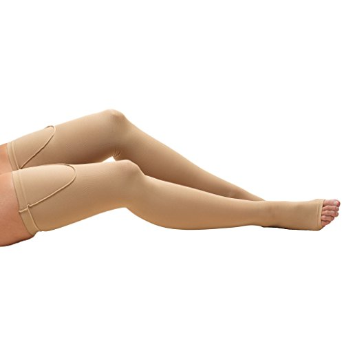 Truform 8810 Anti-Embolism Stockings, Thigh High Length, Closed Toe, 18 mmHg , Beige, Large