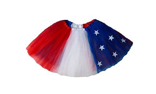 Rush Dance Patriotic Flag Ballerina Girls Dress-Up Princess Costume Recital Tutu (Kids (3-8 Years), Patriotic)
