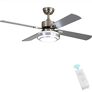 Image of Brushed Nickel Indoor Ceiling Fan Light Fixtures - FINXIN Remote LED 52 Ceiling Fans For Bedroom,Living Room,Dining Room Including Motor,4-Blades,Remote Switch Home Improvements