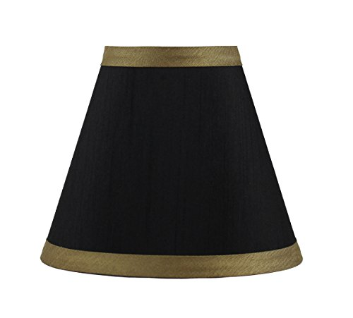 Urbanest Black Silk Chandelier Lamp Shade with Gold Trim, 3-inch by 6-inch by 5-inch, Clip-on, Hardback