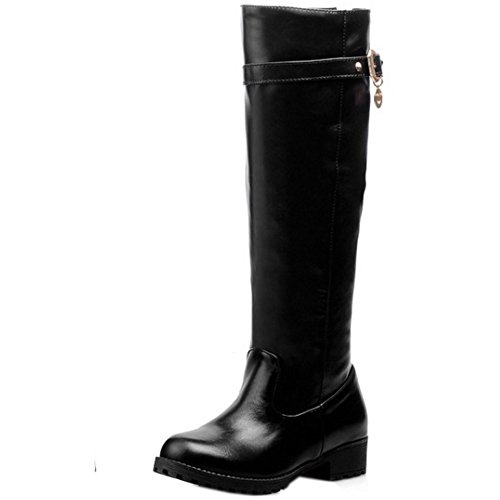 TAOFFEN Women Classic Autumn Winter Shoes Low Heels Long Boots 1435 Black