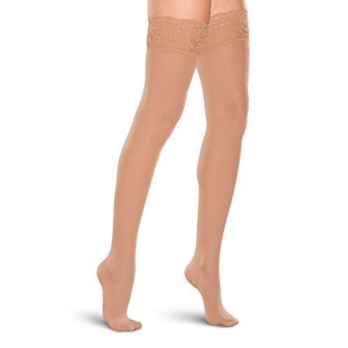 Therafirm Women's Lace-Top Thigh High Stockings - 15-20mmHg Mild Compression Nylons (Sand, XL) (Lace Top Thigh High Stockings)
