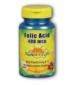 Nature's Life Folic Acid, 400 Mcg, with Vitamin 6 mcg B-12, 200  Tablets