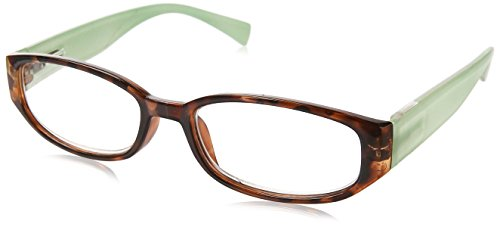 Wink Fancy Tort Face Reading Glass with Aqua Temples and Suede Case, 1.75, 0.200 Ounce