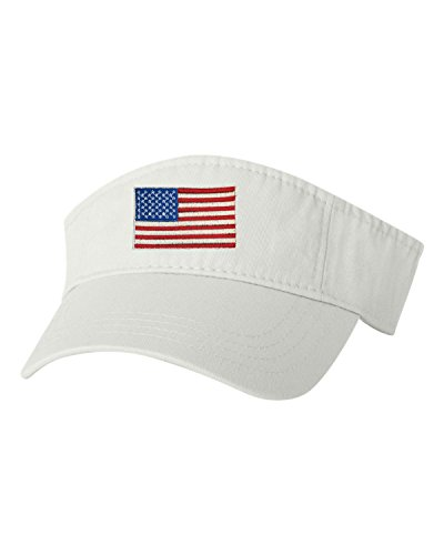 Flag Visor - Go All Out Adjustable White Adult USA American Flag Embroidered Visor Dad Hat