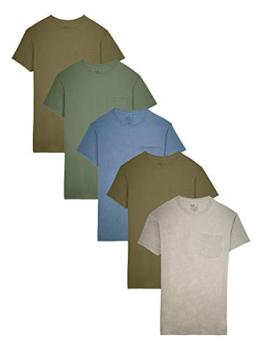 Fruit of the Loom Men's 5-Pack Assorted Pocket T-Shirt, Earth Tones, Large