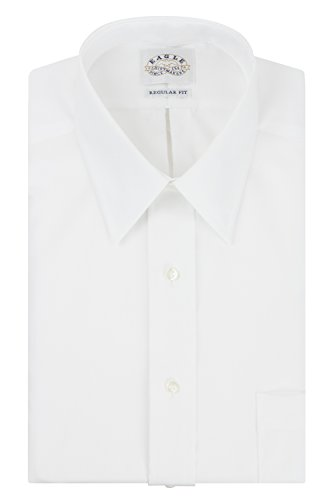 Button Down No Iron Pinpoint - Eagle Men's Non Iron Regular Fit Solid Point Collar Dress Shirt, White, 16.5