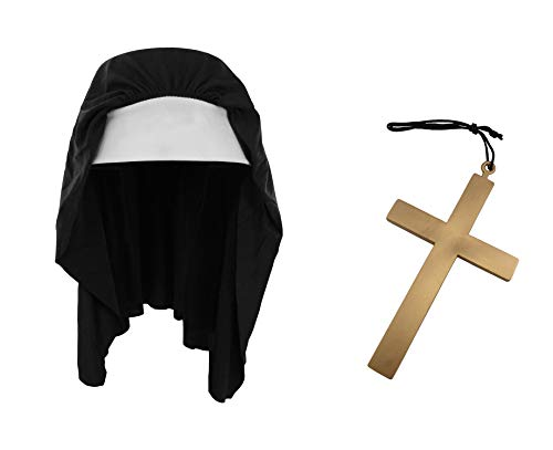 Nun Habit Hat and Gold Cross Necklace Rosary Catholic Crucifix Costume Accessory]()
