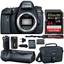 Canon EOS 6D Mark II Professional Digital Camera: 26 Megapixel Touchscreen Full Frame DSLR Bundle with Canon BG-E21 Battery Grip 64GB SD Card SLR Bag Photographer's Kit (Best Full Frame Dslr For Sports Photography)
