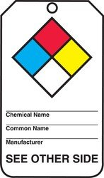 Accuform Signs THS105CTP Hazardous Material Tag, Legend(NFPA Diamond/Target Organs), 5.75