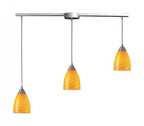 Elk Lighting Arco Baleno Satin Nickel Three-Light Mini Pendant with Canary Glass (Pendant Arco Mini Baleno)