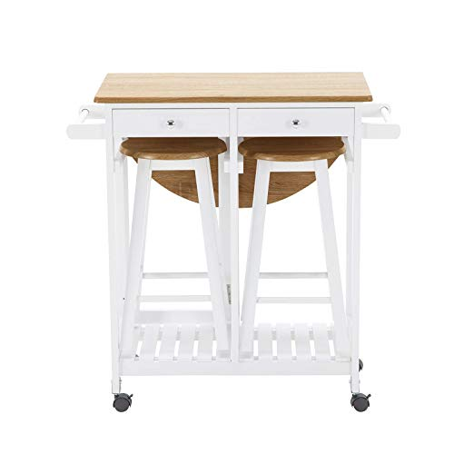 - Lucidz Dining Table Set for 2 Storage Bar Stools & Drawers Oak White Kitchen Room