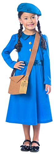 Girls WW2 WW1 Country Evacuee Historical World Book Day Week School Play Fancy Dress Costume Outfit (7-8 Years) Blue -