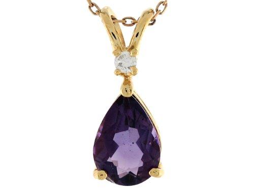 14ct Or Jaune Pendentif En Forme De Ruban 1.84cm Améthyste Ovale Et Diamant