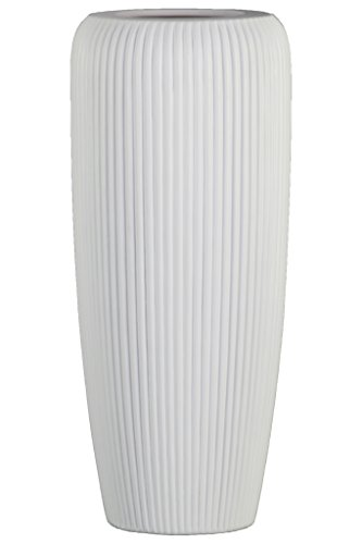 Urban Trends Ceramic Tall Cylinder Ribbed Design Body and Tapered Bottom LG Matte Finish White Vase,