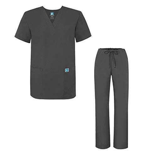 Uniforme Medica Set Unisex Con Adar pewter Pantaloni Uniformi E Grigio Maglia Camice waXIaBq