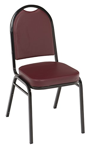 KFI Seating IM520 Armless Stacking Chair, Commercial Grade, 2-Inch, Burgundy Vinyl/Black Frame