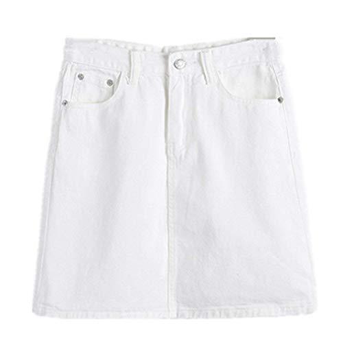 junkai Femmes Jeans Taille Haute Bodycon Une Ligne Denim Jupe Mini Crayon Courte Jupe S-3XL Blanc